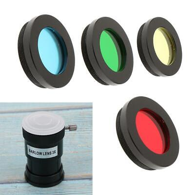 Telescope Eyepiece Filter 4 Colors 1.25 Inch & 3X Barlow Lens for Astronomy