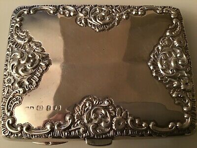 Wonderful Antique English Sterling Silver Card Case Box - Hallmarked