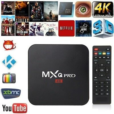 MXQ Pro HD 4K 3D 64Bit Android Quad Core Smart TV Streaming Box Kodi18 Plus More