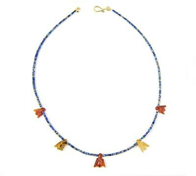 Egyptian New Kingdom lapis necklace with carnelian fly amuletic pendants 1250 BC