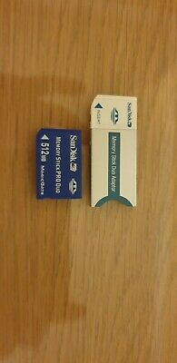 Sandisk Memory Card Stick Pro Duo 512Mb + Duo Adapter Psp Sony Cybershot Camera