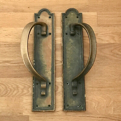 "Brass Edwardian Door Pull Handles 14"" Heavy Plates Knobs Grab Antique Reclaimed"