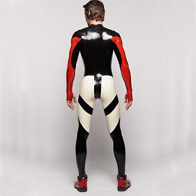 Latex100%Rubber Gummi Racing Black with Red Catsuit Tight Sexy Size 0.4MM S-XXL
