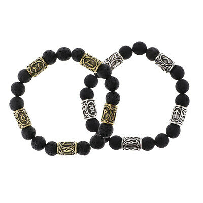Lava Bead Medieval Viking Runic Carved Bracelet Bangle Ancient Norse Jewelry