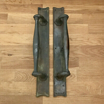 "Brass Edwardian Door Pull Handles 18"" Heavy Plates Knobs Grab Antique Reclaimed"