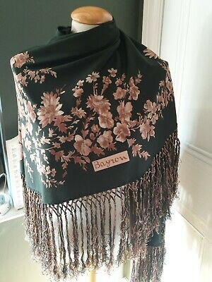 "Vintage Bayron green brown floral shawl ""gypsy boho style"". Long fringe"