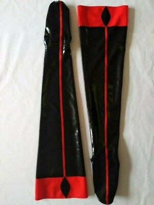 Latex 100% Rubber Gummi Red with Black Tight-High Sexy Long Socks Size S-XXL