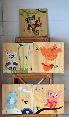 Hand made childrens wall hanging layered art pictures x 5