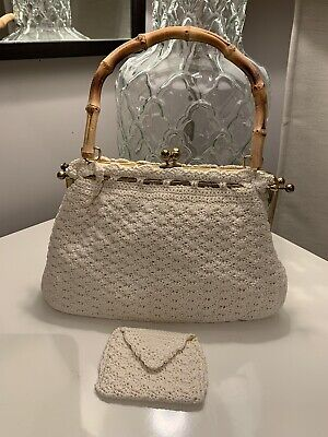 VINTAGE 1950s 1960s BAMBOO HANDLE CROCHET BAG With Purse