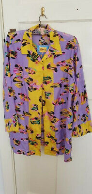 Vintage 80s/90s Ken Done oversized silk shirt one size fits many