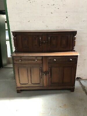 Gothic Antique Style Carved Oak Court Cupboard Sideboard Buffet