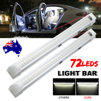 2X 12V 72 LED Strip Light Bar Car Interior Lamp Caravan 4WD Camping Boat Fishing