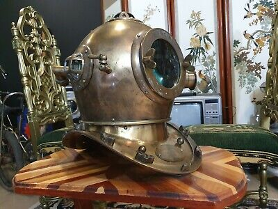 Collectable Brass And Metal Full Size Diving Helmet