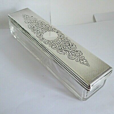 Antique Silver Hm 1853 Silver Top And Glass Base Long Box   Nice Pierced Design