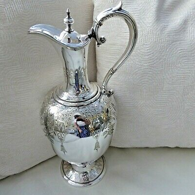 Giant Size Victorian Chased Silver Plate Claret Wine Jug Pitcher 12.25 Inc Gleam