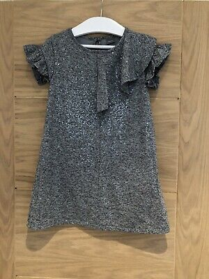 Next Girls Grey Silver Sequin Frill Dress Age 5