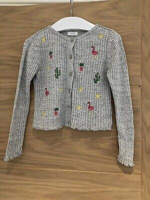 Next Girls Gret Knit Ribbed Cardigan Embroidered Pattern Age 5