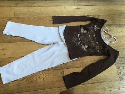 Girls long sleeved brown & white top and white leggings, aged 11-12, Sophie