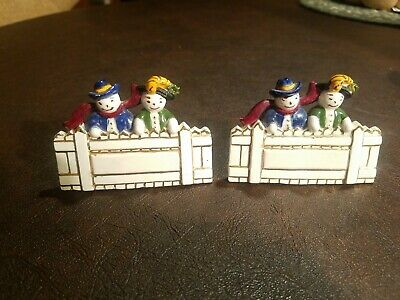 Vintage 1956 #PC 21 Duncan Ceramic Holiday Christmas Snowman Fence