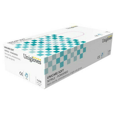 Nitrile Powdered Gloves Med X100 GS0203 Unicare Genuine Top Quality Product New