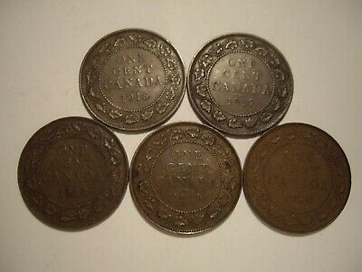 C Canada George V 1916 - 1920 Large Cents - Lot of 5 Coins