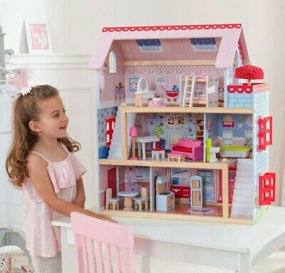 KidKraft Chelsea Doll Cottage with 16 Pieces of Furniture Included Toy for Girls