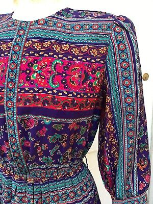 Paisley 80s Dress Folksy Print Pleated Skirt Vintage 1980s