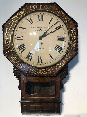 19th CENTURY REGENCY DROP DIAL BRASS INLAID FUSEE  WALL CLOCK