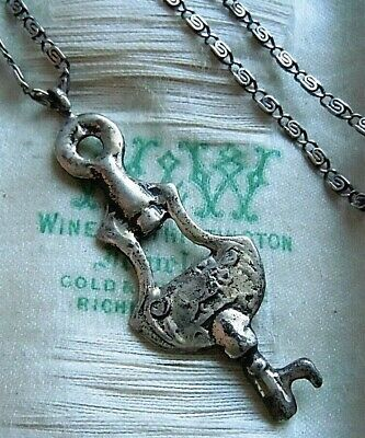 Antique Peruzzi Style Sterling and Silver Skeleton Key Pendant Chain Necklace #1