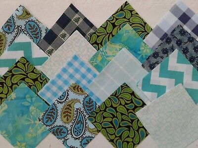 "Turquoise Blue Prints Fabric Quilting Squares Charm Pack 5"" Blocks 100 pcs"