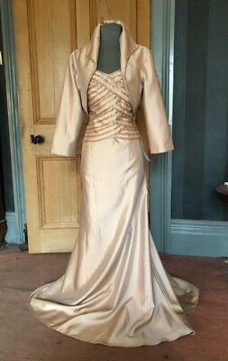Gorgeous House Of Fraser Mother Of The Bride/Evening Dress And Bolero, Size 16