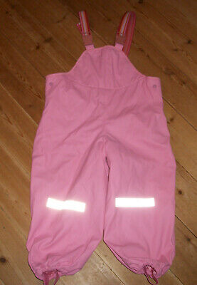 Pink girls salopettes/ waterproof trousers size 98-104/ age 3-4 years