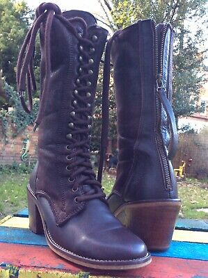 Bertie London Antique Style Fur Lined Lace & Zip Up Mahogany Leather Boots UK4