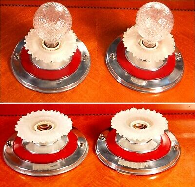 ANTIQUE CHROME & Red Art Deco WALL SCONCE LIGHT FIXTURES Lalique Style Skirts
