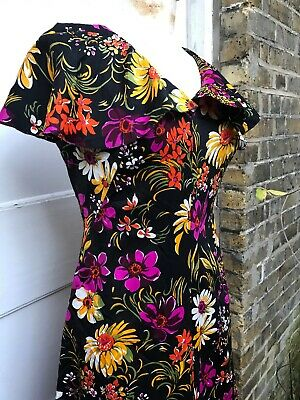 Vintage 70s Doing 30s Cape Topped Dress Fab Floral Print Deco Maxi