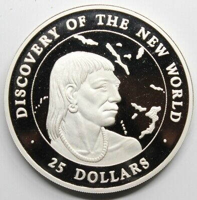 BAHAMAS 1990 DISCOVERY NEW WORLD 25 DOLLARS MONEDA PLATA 925/1000 124.0gr PROOF