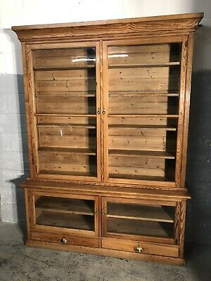 Huge Antique Pitch Pine Glazed Bookcase Office Cabinet Stunning Quality