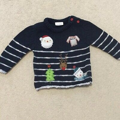 Next Baby Boy Navy Blue White Stripe Christmas Jumper 0-3 Months