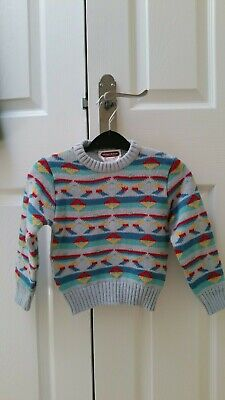 Vintage 1980'S Patterned Childs Jumper Age 3-4 In Excellent Condition