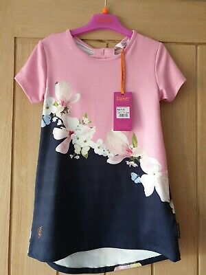 Ted Baker girls Age 9-10 Years pink and Navy floral Top