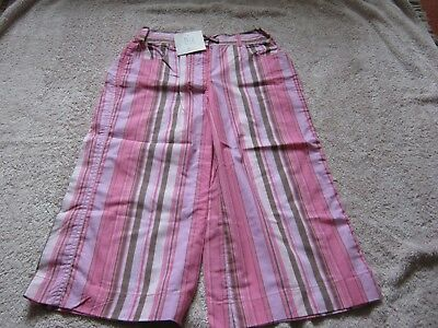 BNWT TU GIRLS  AGED 9 YEARS PINK STRIPPED TROUSERS HEIGHT 134cm   3/4 lenght