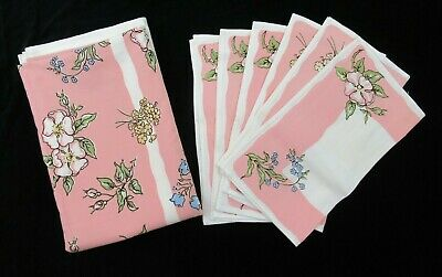 Vintage Pink Floral Tablecloth and 6 Matching Napkins Linens