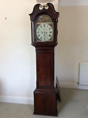 Antique 8 Day Lunar Arch Mahogany Long Case Clock, William Wain, Burslem c. 1835