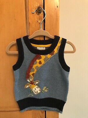 Monsoon baby boys giraffe knitted tank top jumper age 3-6 months unworn