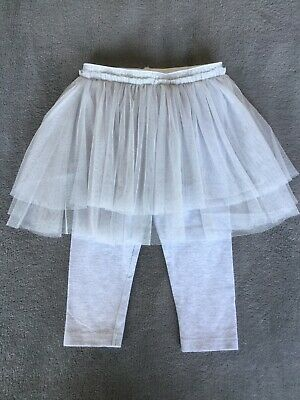 NEXT Girls Grey Leggings With Attached Tuille Tutu Skirt 12-18 Months