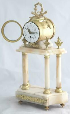 Very Nice Antique French 8 Day Bell Striking Cream Marble Portico Mantle Clock