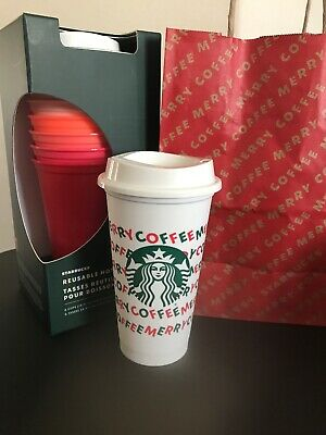 LOT of 2 STARBUCKS 2019 Holiday Reusable Hot Cups 16 oz Plastic Cup Merry Coffee