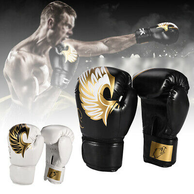 Pro Leather Boxing Gloves Sparring Punch Bag Muay Thai MMA Training Gloves