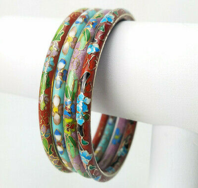 4 Chinese Cloisonne Enamel Flower Turquoise Red Brown Pink Bangle Bracelets 5.5m