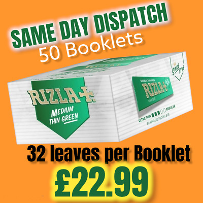 Rizla Rolling Papers Cigarette Green 50Booklets King Size Genuine Full Box New😱